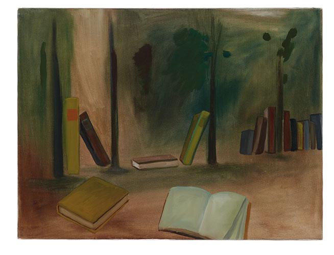 Bücher im Wald, 60 x 80 cn, Oel/Leinwand, 2009